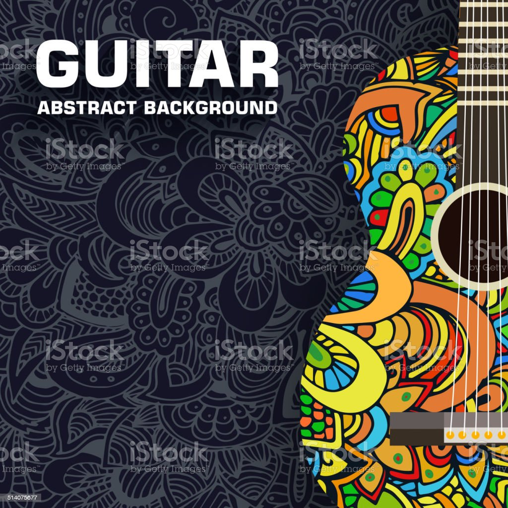 Hand drawn art musical classic guitar abstract background ornament concept vector art illustration