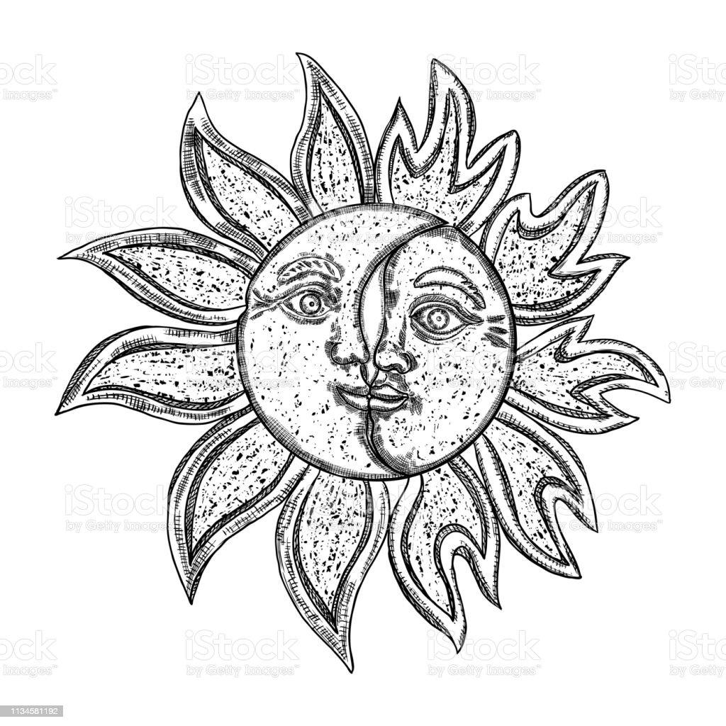 Dessiné à La Main Art Soleil Et Croissant De Lune Conception