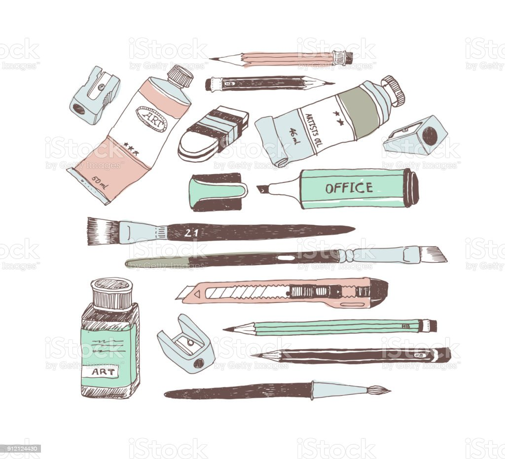 Hand drawn art tools and supplies set vector art illustration