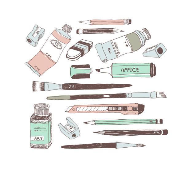 Hand drawn art tools and supplies set vector art illustration