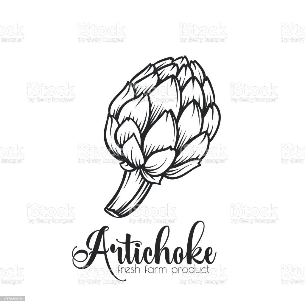 Icône de main d'artichaut dessinés. - Illustration vectorielle