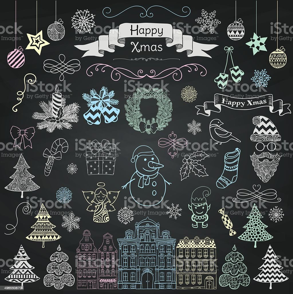Christmas Board Design.Hand Drawn Artistic Christmas Doodle Icons On Chalk Board