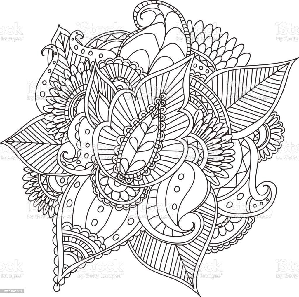 Elle çizilmiş Sanatsal Etnik Süs Desenli çerçeve çiçek Doodle Tarzı