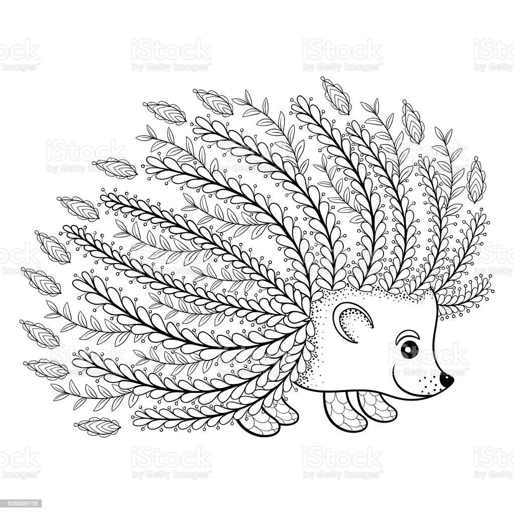 mano dibujado artstica erizo para adultos para colorear pgina en garabato illustracion libre de derechos