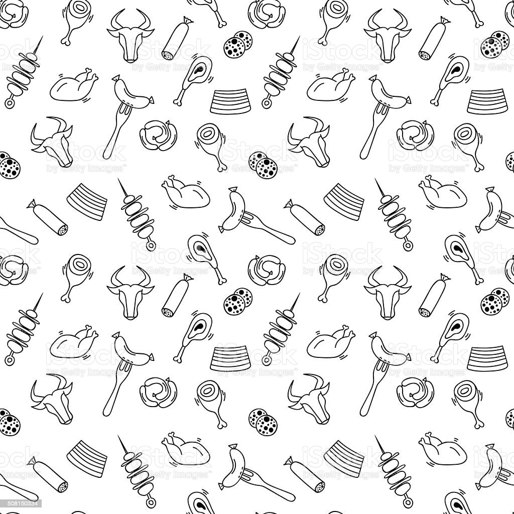 Hand drawn artistic meat seamless pattern for adult coloring pag vector art illustration