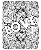 Hand drawn artistically ethnic ornamental Hand drawn St. Valenti