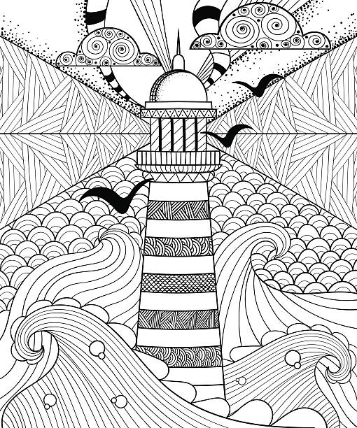 Hand drawn artistically ethnic ornamental patterned Lighthouse w Hand drawn artistically ethnic ornamental patterned Lighthouse with clouds in doodle, tribal style for adult coloring book, pages, tattoo, t-shirt or prints. Sea vector illustration. coloring book pages templates stock illustrations