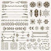 Hand drawn assorted design elements set 1.