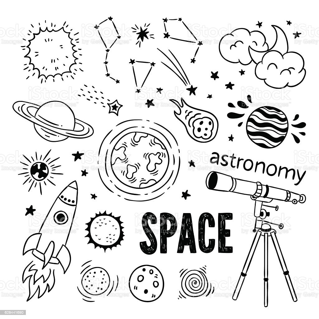 Hand drawn astronomy icons. Space illustrations: planets, stars, space ship - Illustration vectorielle