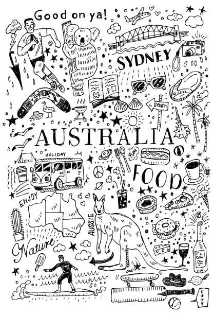 ilustraciones, imágenes clip art, dibujos animados e iconos de stock de mano dibujada doodle de australia, estilo de dibujo, ilustración vectorial - australia