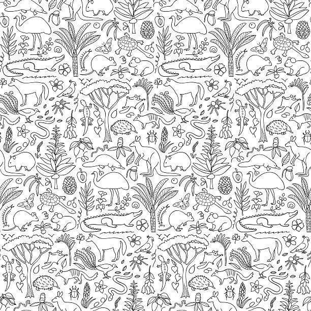 bildbanksillustrationer, clip art samt tecknat material och ikoner med hand drawn australia seamless pattern - platypus