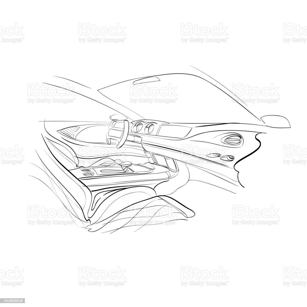 Hand gezeichnet Automobil Interieur. Auto der Zukunft. Vektor-Illustration. – Vektorgrafik