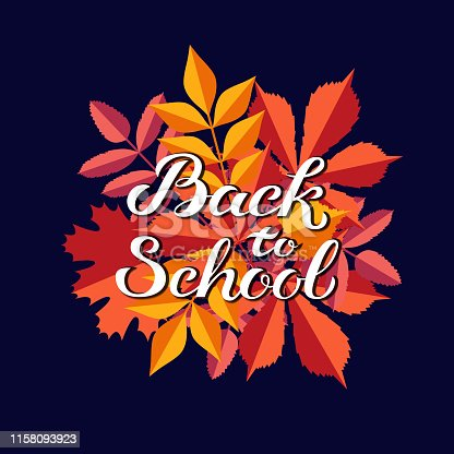 Hand drawn autumn Back to School typography lettering poster with colorful background and leaves in flat style. Vector illustration with text for greeting card, invitation. Seasonal frame, border, banner template