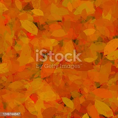 istock Hand Drawn Autumn Leaves Background. Floral Frame Isolated Background. Geometric Frame Invitation Card Template with Autumn Leaves. Vector Floral Border Design Element for Birthday, Thanksgiving Card, Wedding Invitation. 1249744347