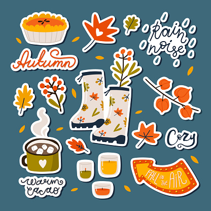 Hand drawn autumn sticker pack. Vector collection