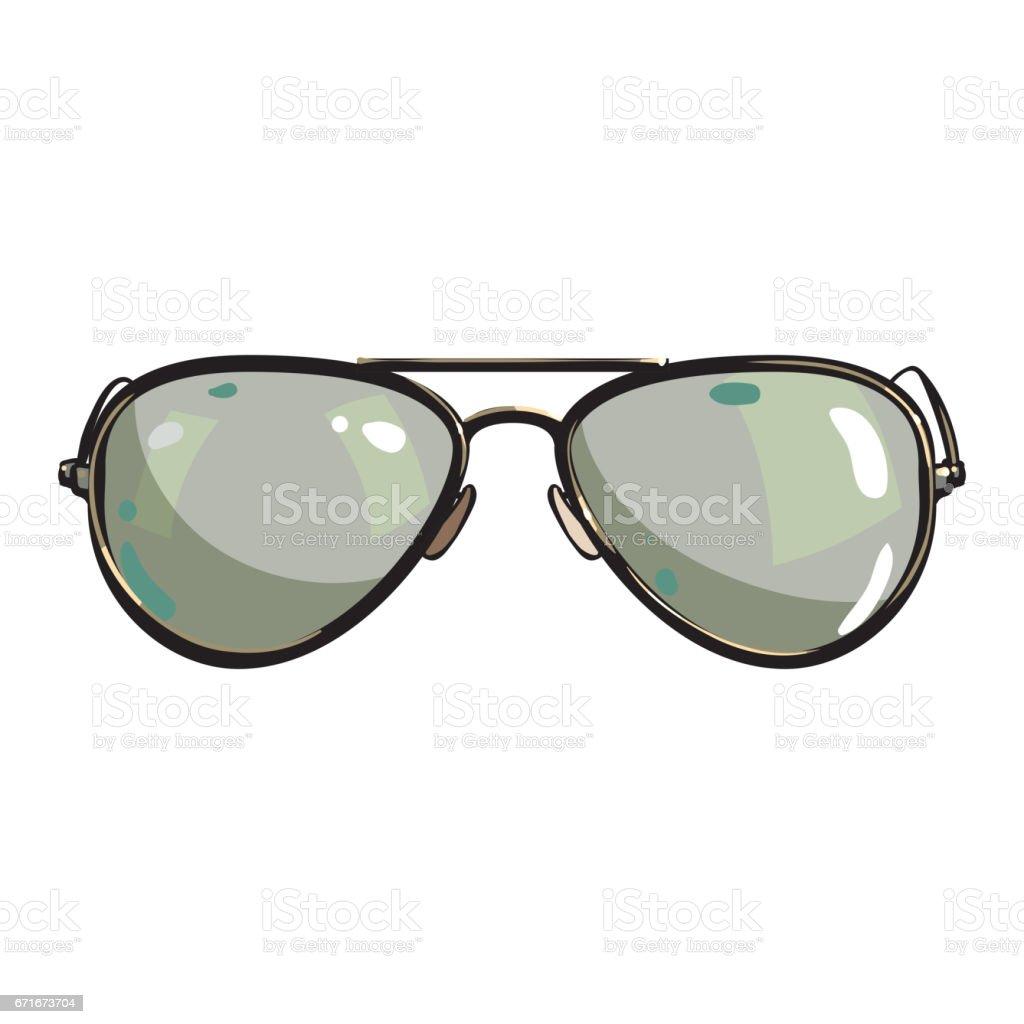 Hand drawn aviator sunglasses in metal frame with green lenses vector art illustration