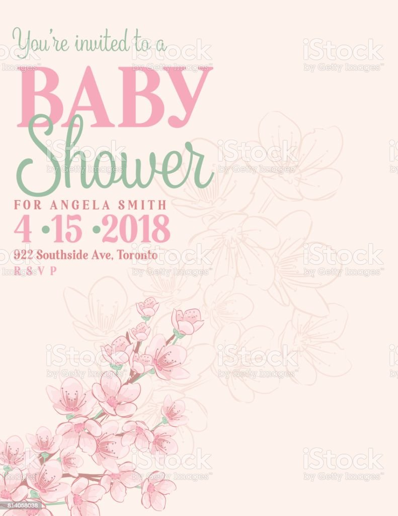 Hand drawn baby shower invitation with cherry blossom stock vector hand drawn baby shower invitation with cherry blossom royalty free hand drawn baby shower invitation filmwisefo