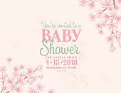 Hand Drawn Baby Shower Invitation with Cherry Blossom