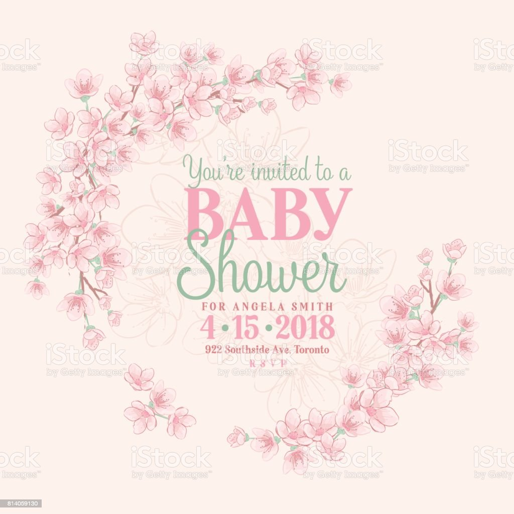 Hand drawn baby shower invitation with cherry blossom stock vector hand drawn baby shower invitation with cherry blossom royalty free hand drawn baby shower invitation filmwisefo