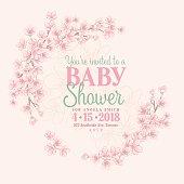 Hand Drawn Baby Shower Invitation with Sakura