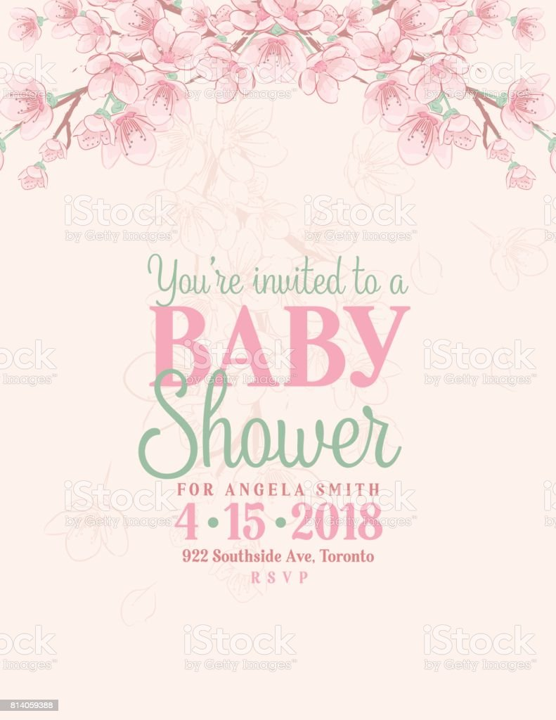 Hand Drawn Baby Shower Invitation with Cherry Blossom vector art illustration