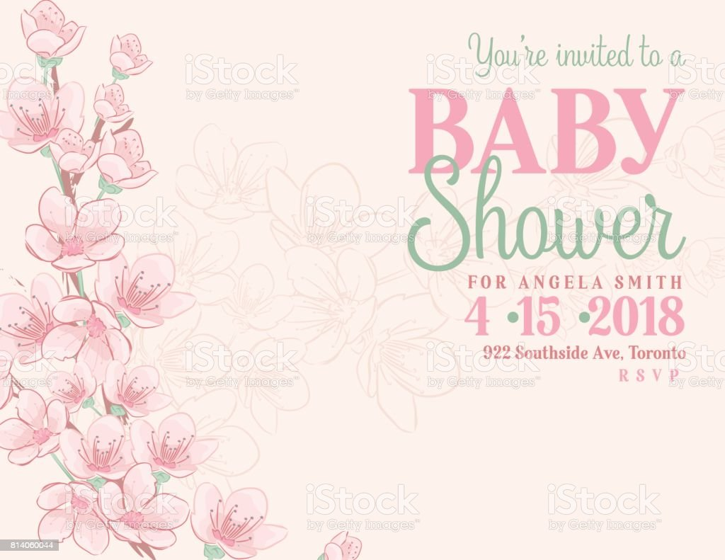Hand Drawn Baby Shower Invitation With Cherry Blossom Stock Vector ...