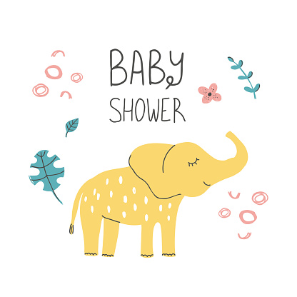Hand Drawn baby shower poster print African elephant with hand lettering. Cute doodle animal card. Scandinavian colorful childish illustration.