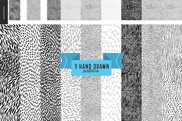 Hand drawn back and white patterns set Handdrawn black and white patterns set. Fur or leaves seamless black and white patterns animal markings stock illustrations