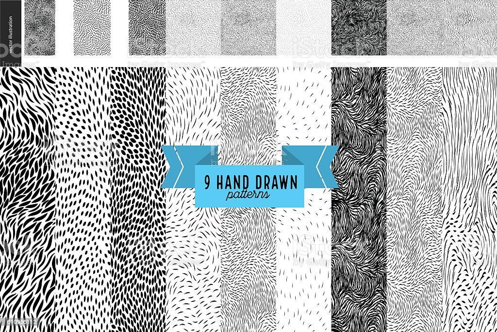 Hand drawn back and white patterns set - ilustración de arte vectorial