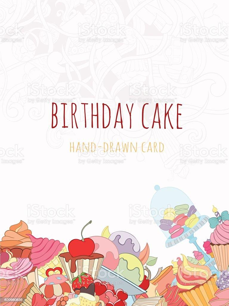 Hand drawn background of doodle style cupcakes ilustração de hand drawn background of doodle style cupcakes e mais banco de imagens de amor royalty-free