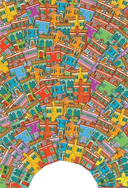 ilustrações, clipart, desenhos animados e ícones de mão-extraídas fundo com casas diferentes. cidade colorida legal. - viagem de primeira classe