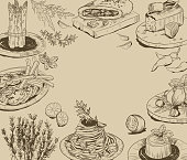 Vector hand drawn background with food elements