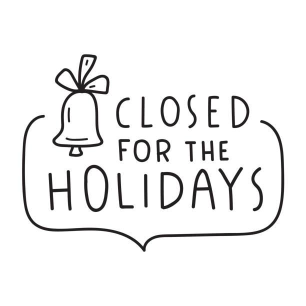 stockillustraties, clipart, cartoons en iconen met hand getekende badge-gesloten voor de feestdagen. - dicht