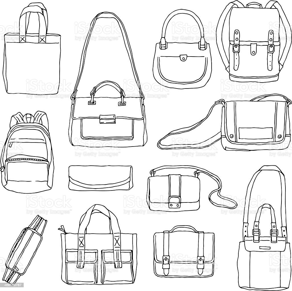 Hand Drawn Bags vector art illustration