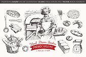 A monochrome graphic collection illustrating bakery products