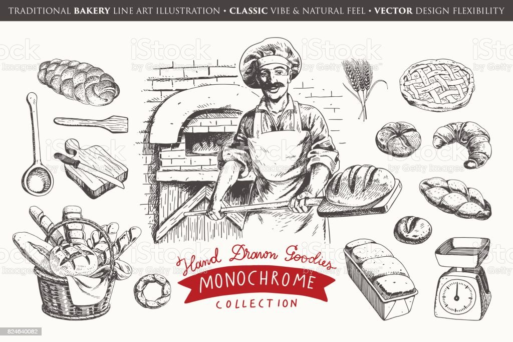 Hand drawn bakery collection vector art illustration