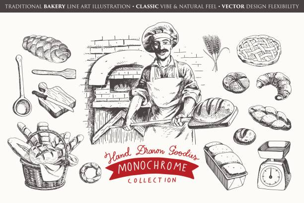 illustrations, cliparts, dessins animés et icônes de collection de boulangerie dessinés à la main - boulanger