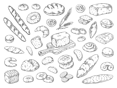 Hand drawn bakery. Doodle bread sketch, wheat flour types of bread, vintage graphic template. Vector bakery bagels and cookies