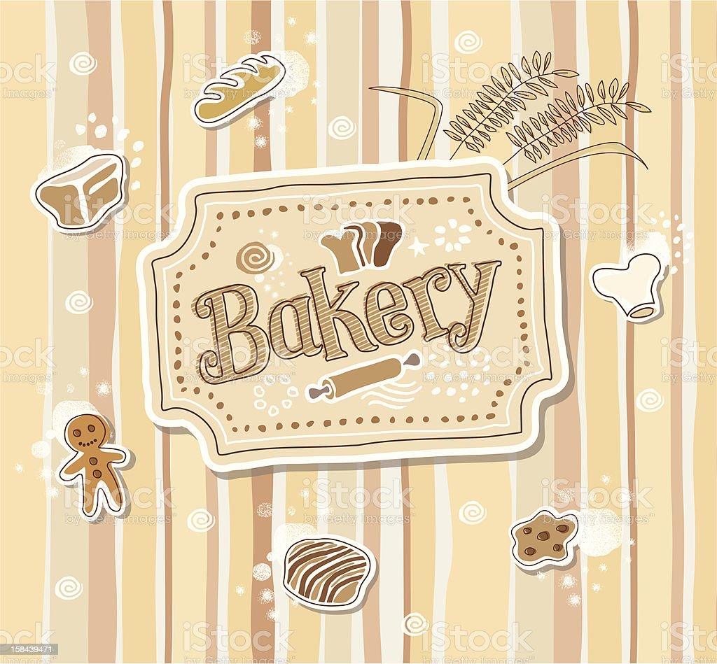 Hand drawn Bakery doodle vector label royalty-free stock vector art