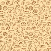 Hand drawn bakery doodles vector seamless pattern.