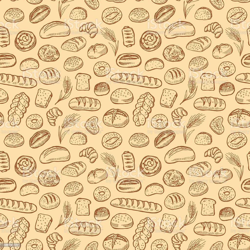 Hand drawn bakery doodles vector seamless pattern.向量藝術插圖