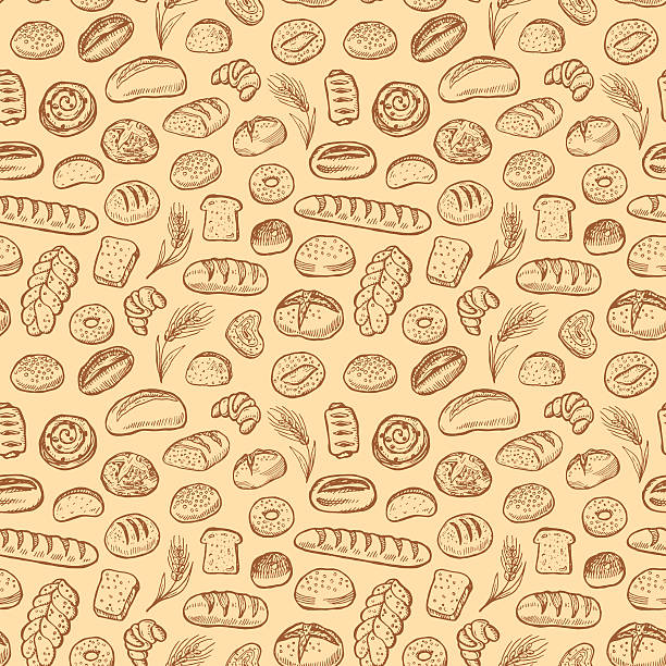 Hand drawn bakery doodles vector seamless pattern. Hand drawn bakery doodles vector seamless pattern. bread stock illustrations
