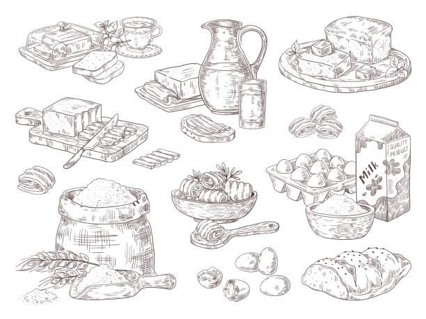 ilustrações de stock, clip art, desenhos animados e ícones de hand drawn bakery goods. butter milk eggs and flour culinary ingredients, butter and bread sandwiches. vector isolated sketch set - manteiga