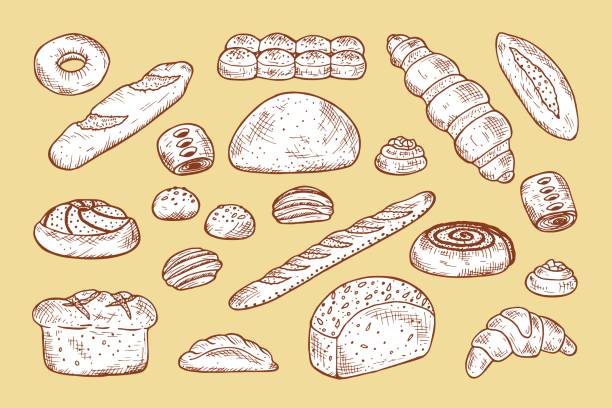 Hand drawn Bakery products and Sweet Pastries Vector Set. Bread, rolls, baguette, donut, pie, croissant vector art illustration