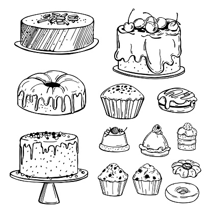 Hand drawn bakery products. Cookies, cakes, muffins. Vector sketch  illustration.