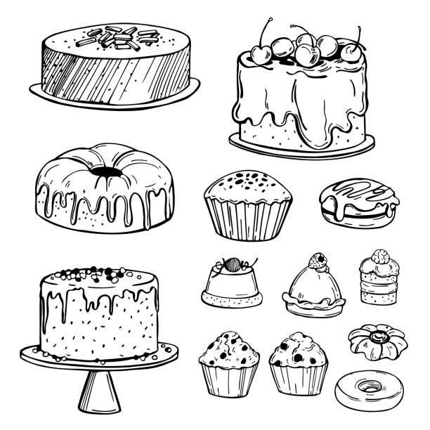 bildbanksillustrationer, clip art samt tecknat material och ikoner med handritade bageriprodukter. kakor, kakor, muffins. vektorskissillustration. - koncept och teman