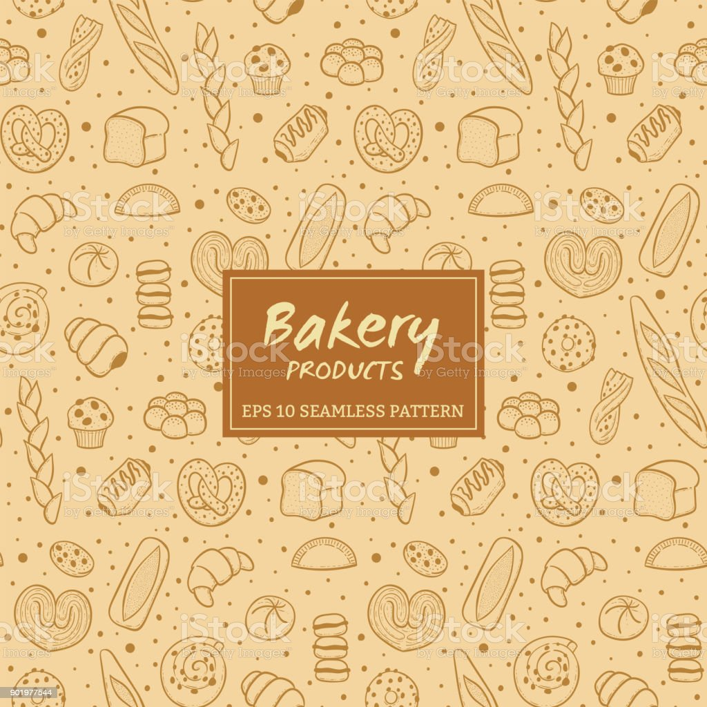Hand drawn bakery products seamless pattern vector art illustration
