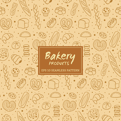 Hand Drawn Bakery Products Seamless Pattern Stock Illustration - Download Image Now