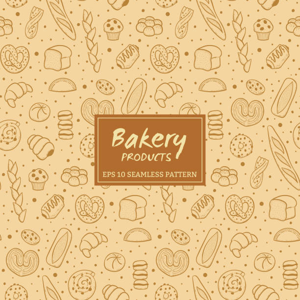 Hand drawn bakery products seamless pattern Hand drawn seamless pattern of bread and bakery products. Baked goods background. Vector illustration. bread backgrounds stock illustrations