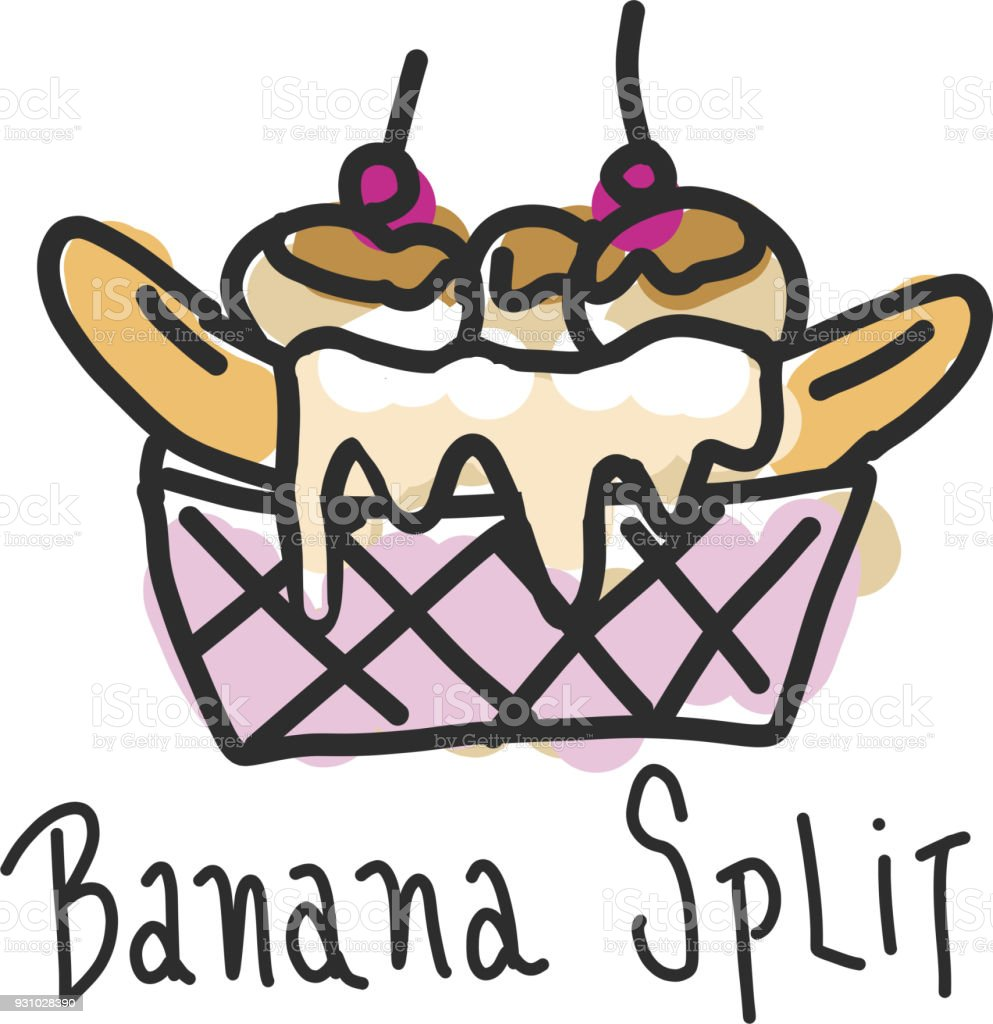 Hand drawn banana split dessert